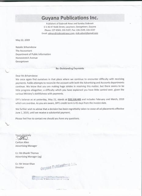 Stabroek News letter to DPI - 2019-05-22