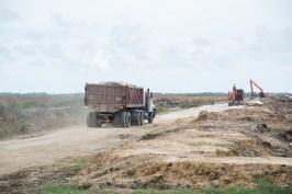 Truck taking boulders to Dantzig foreshore.