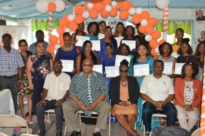 Officials from the Board of Industrial Training, Region 3, Regional Executive Office (REO) and the Graduates at the graduation ceremony held at the Youth with Purpose Training Centre at Crane, West Coast Demerara.