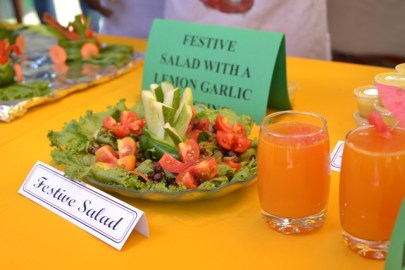 Salad made by locally grown vegetable on display.