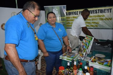 Minister of Indigenous Peoples' Affairs, Hon. Sydney Allicock visiting one of the booths.
