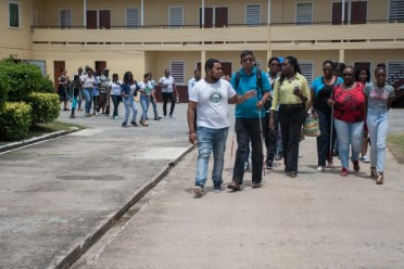 Some of the participants of the agri-ability field school, heading out to begin their 'agri-experience'.