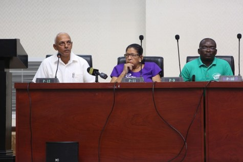 Minister of Communities, Hon. Ronald Bulkan accompanied by REO Region 8, Mitzy Campbell and Permanent Secretary of the Ministry of Communities, Emil McGarrell.