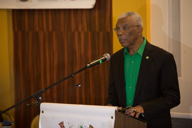His Excellency, President David Granger addressing the teachers participating in Guyana's inaugural Teaching Conference.