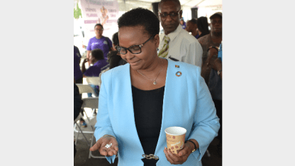 Minister of Public Health, Hon. Volda Lawrence was the first to take her pills to combat lymphatic filariasis.