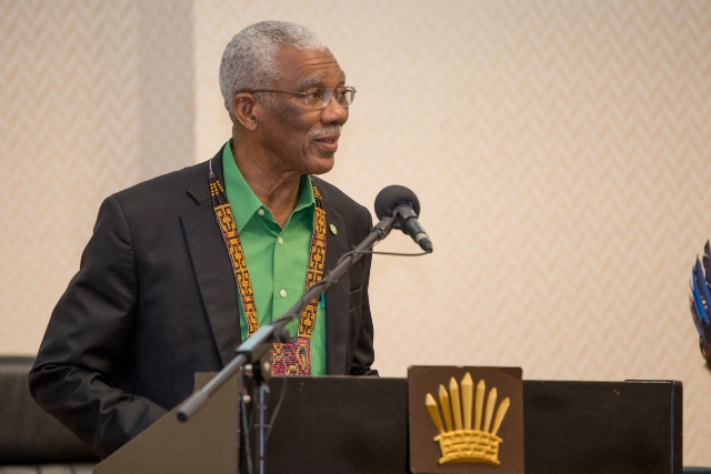 President David Granger addressing the National Toshaos Council Conference at the Arthur Chung Conference Centre