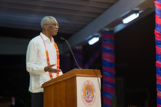 His Excellency, President David Granger, delivers the feature address to guests and the graduating class of 2019 at the Saraswati Vidya Niketan Secondary School.