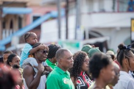 Residents of all ages in New Amsterdam listening to the address by His Excellency, President David Granger.