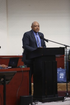 Minister of Natural Resources, Hon. Raphael Trotman addressing the NTC.