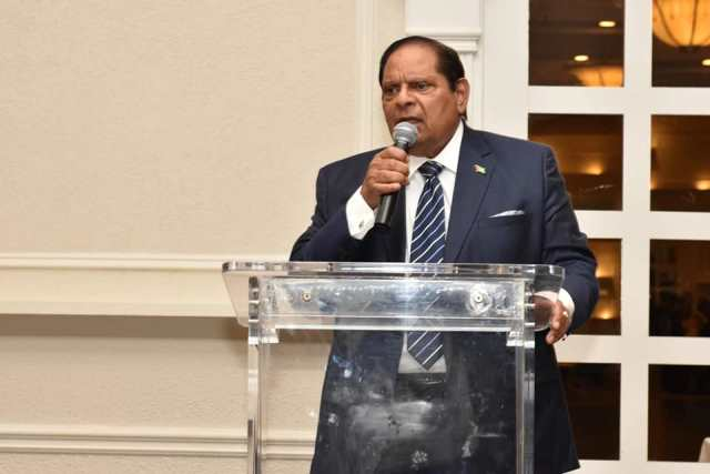 Prime Minister, Hon. Moses Nagamootoo delivering remarks at a reception in Toronto, Canada.
