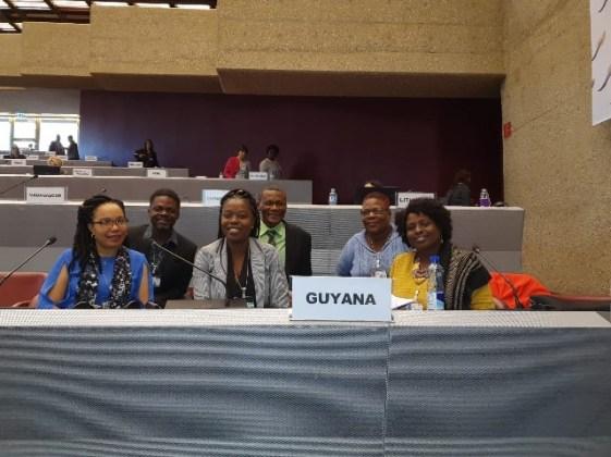From Left – Right : Felicia Adams-Kellman-EPA, Darcy Walrond- GGMC, Mariscia Charles – MNR, Carlos Todd-GGMC, Cheryl Williama-NMS, Ingrid Sarabo planet Gold Guyana child project- CI- Guyana