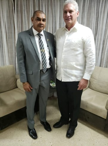 His Excellency, President Miguel Diaz Carnel, President of the Republic of Cuba, and Minister of Business, Hon. Haimraj Rajkumar.