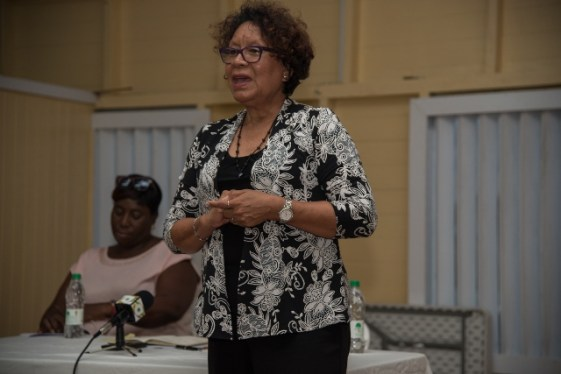 Minister within the Ministry of Indigenous Peoples' Affairs, Hon. Valerie Garrido-Lowe addressing residents of Zes Kinderen, Mahaicony.