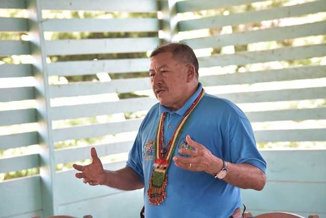 Minister of Indigenous Peoples' Affairs, Hon. Sydney Allicock addressing the residents at Karawab.