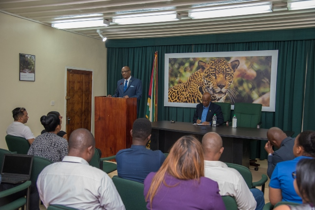 Director General, Joseph Harmon addressing the media