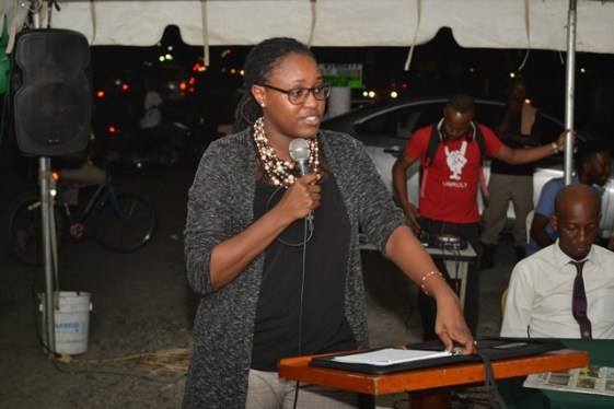 Minister of Public Service, Hon. Tabitha Sarabo-Halley delivering her remarks to the residents of Laing Avenue.