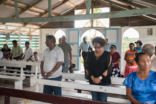 Minister within the Ministry of Indigenous Peoples' Affairs, Hon. Valerie Garrido-Lowe attending Church at St Monica Mission, Upper Pomeroon River.