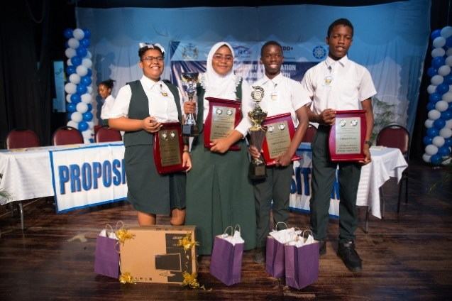 The winning team of the JOF Haynes Debating competition, Mackenzie High School.