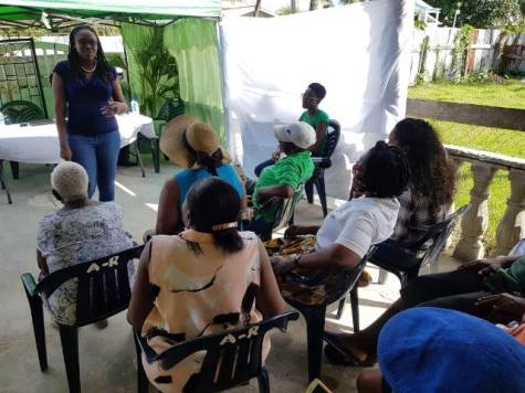 Minister of Public Service, Hon. Tabitha Sarabo-Halley during her engagement with residents of Henrietta Village, Pomeroon-Supenaam.