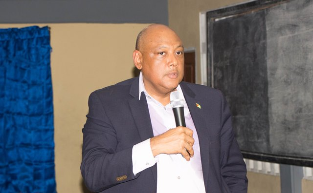 Minister of Natural Resources, Hon. Raphael Trotman engaging the residents of Buxton.