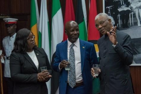 His Excellency, President David Granger, Minster of Foreign Affairs, Hon. Dr. Karen Cummings and High Commissioner Mwaniki Muchiri having a light moment.