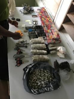 The items seized during a search of the Mazaruni Prisons.