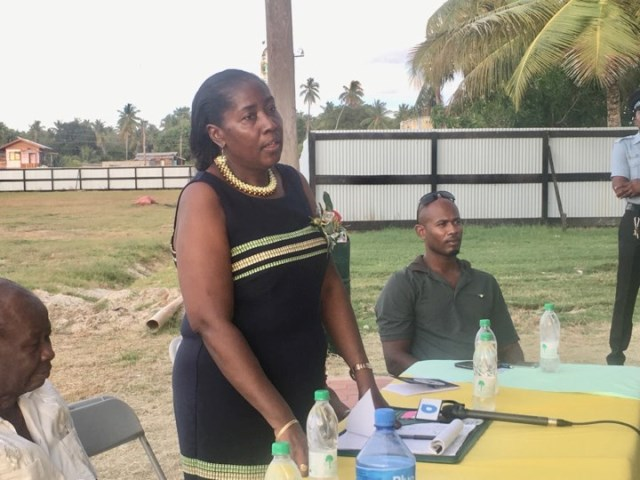 Minister within the Ministry of Agriculture Valerie Adams-Yearwood addressing residents at a community meeting at Number 53 Village Community Centre
