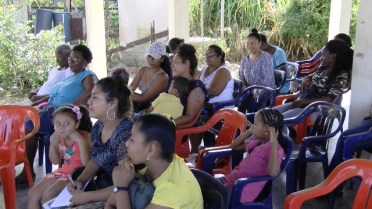 Residents during a Richmond Village community meeting, in Essequibo.