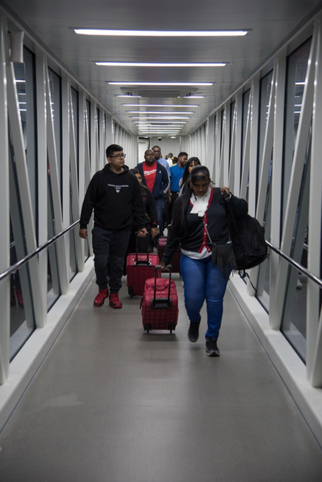 Passengers arriving