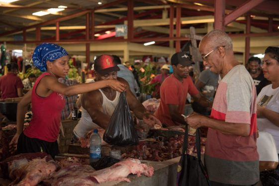 Customers purchasing their Christmas meats