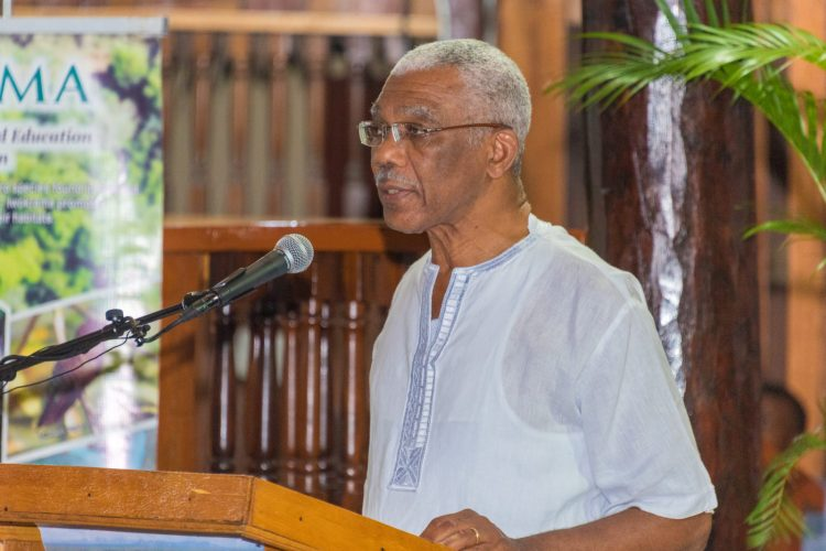 President David Granger addressing stakeholders at the Iwokrama International Centre's 30th anniversary celebrations at the Umana Yana
