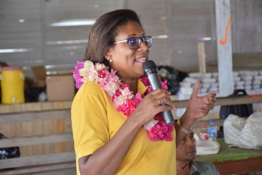 Minister of Public Telecommunications, Hon. Catherine during her address to residents in OreallaHughes