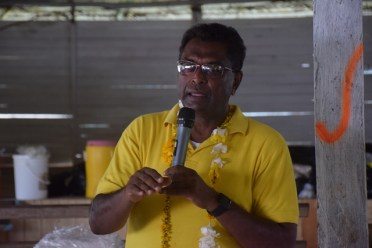 Minister of Public Security, Hon. Kemraj Ramjattan during his address to residents in Orealla