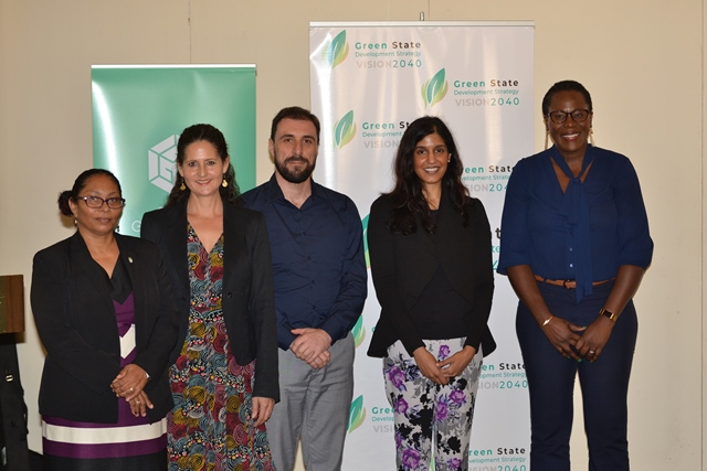 [From right] Ndibi Schwiers, Director of the Department of Energy, Sudha Gollapudi, Consultant at GGGI, David Fernandez, Programme Lead at GGGI, Catherine Allinson, Consultant at GGGI.