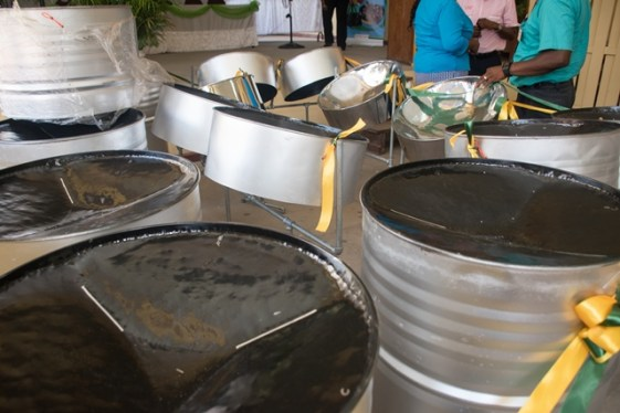 Some of the steel pans that were handed over to Kwakwani Secondary School.