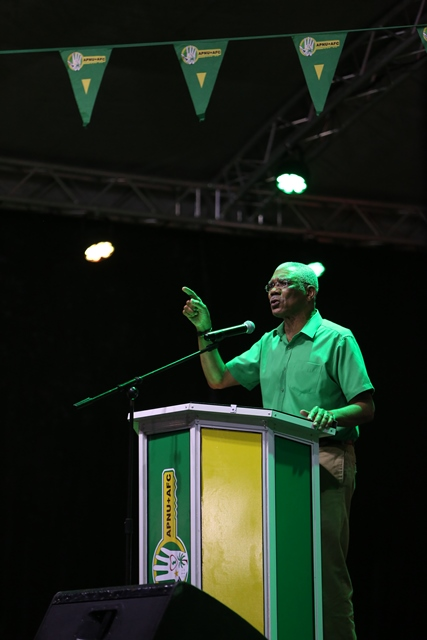 His Excellency, President David Granger making a point during his speech.