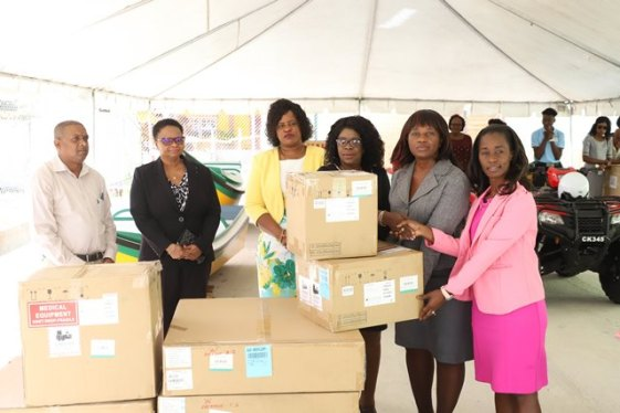 Minister of Public Health Volda Lawrence, Director of Regional and Clinical Services, Dr. Kay Shako, Permanent Secretary (PS) of the Ministry, Collette Adams, representative from the Ministry of Communities Danielle Campbell-Lowe along with other staff of the Public Health Ministry showcasing some of the medical equipment.
