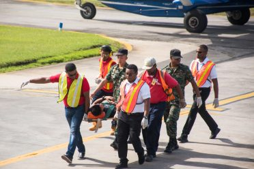 Scenes from the search and rescue simulation exercise