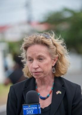 US Ambassador to Guyana, Sarah-Ann Lynch speaking to DPI.
