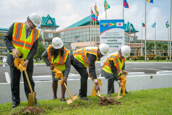 CARICOM Secretary General, Ambassador Irwin LaRocque, Minister of Foreign Affairs, Dr. Hon. Karen Cummings, Minister of Public Infrastructure, Hon. David Patterson and Ambassador of Japan to Guyana and CARICOM, HE Tatsua Hirayama turn the sod to begin construction of a Photovoltaic Power Generation System at CARICOM HQ