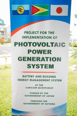Ambassador of Japan to Guyana and CARICOM, HE Tatsua Hirayama addressing the gathering at a ceremony to mark the beginning of construction of a Photovoltaic Power Generation System in at CARICOM headquarters