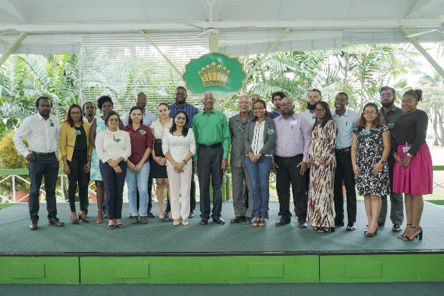 President David Granger (centre) with members and volunteers of Heal Guyana.