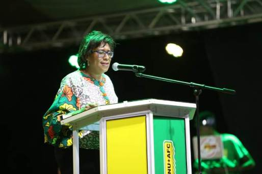 Minister of Public Telecommunication Cathy Hughes as she addressed residents of New Amsterdam Monday evening.