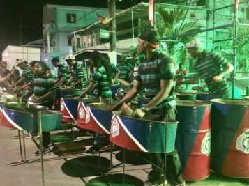 Members of the Guyana Police Force Steel Orchestra.