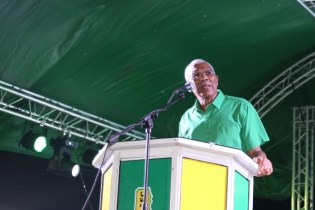 HE President David Granger addressing the audience at the rally at Damon Square, Anna Regina.