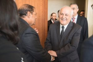 Outging Chair of G77 H.E, Mr. Ryiad Mansour of Palestine greeting Hon. Prime Minister.