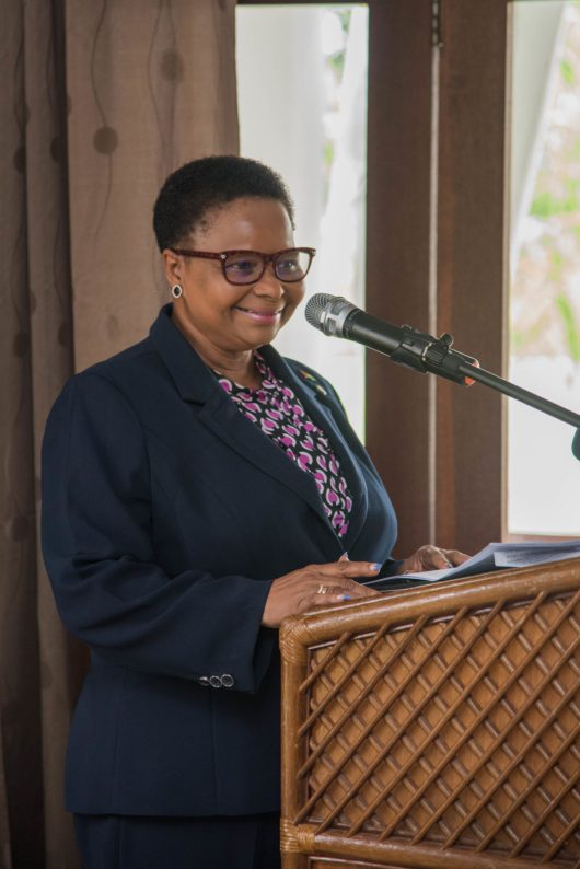 Minister of Public Health Hon. Volda Lawrence addressing the gathering