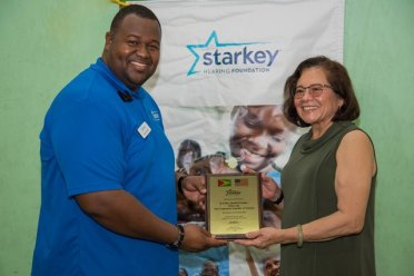Both the First Lady, Mrs. Sandra Granger and Minister of Public Health, Hon. Volda Lawrence received Excellence in Partnership awards from the Starkey Hearing Foundation.