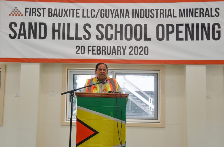 Prime Minister Moses Nagamootoo addressing students, teachers and guests during the commissioning of the Sand Hills Primary School on Thursday