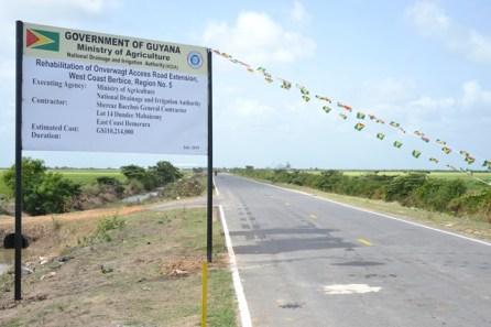 The Onverwagt farm to market road after rehabilitation.